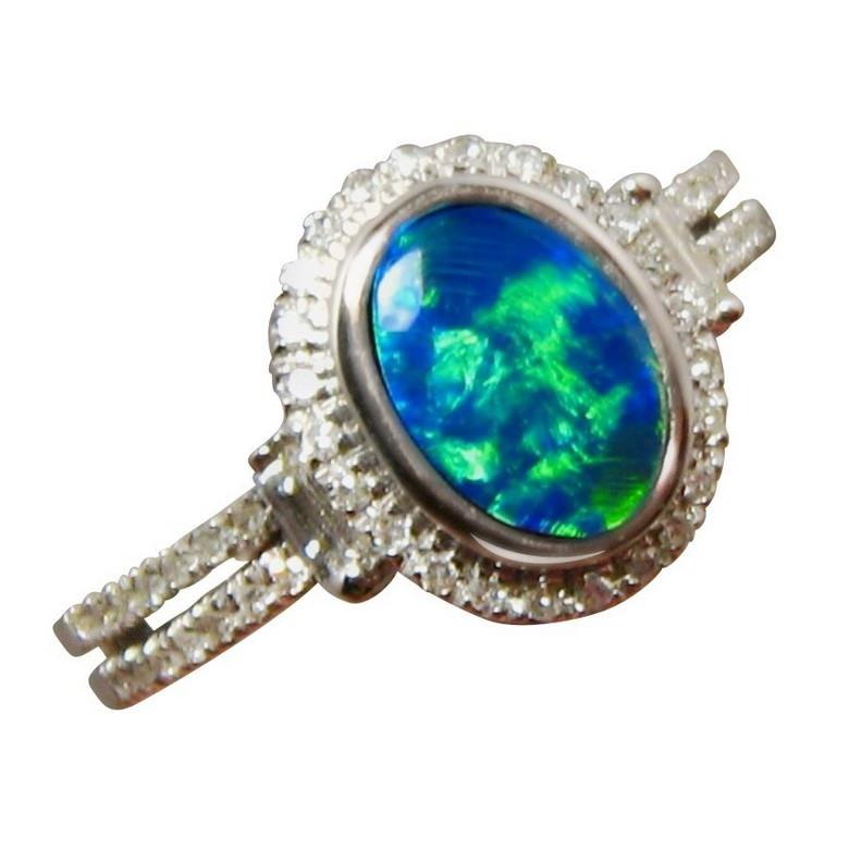 Green Blue Opal Ring with Diamonds 14k Gold | FlashOpal
