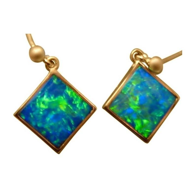 Opal Earrings Green Blue Diamond Shape 14k Yellow Gold