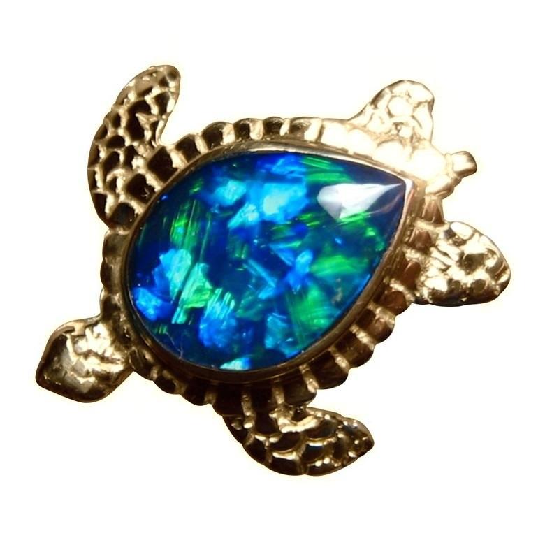 Opal pendant 14k gold sea turtle green gem flashopal sea turtle opal pendant 14k yellow gold mozeypictures Images