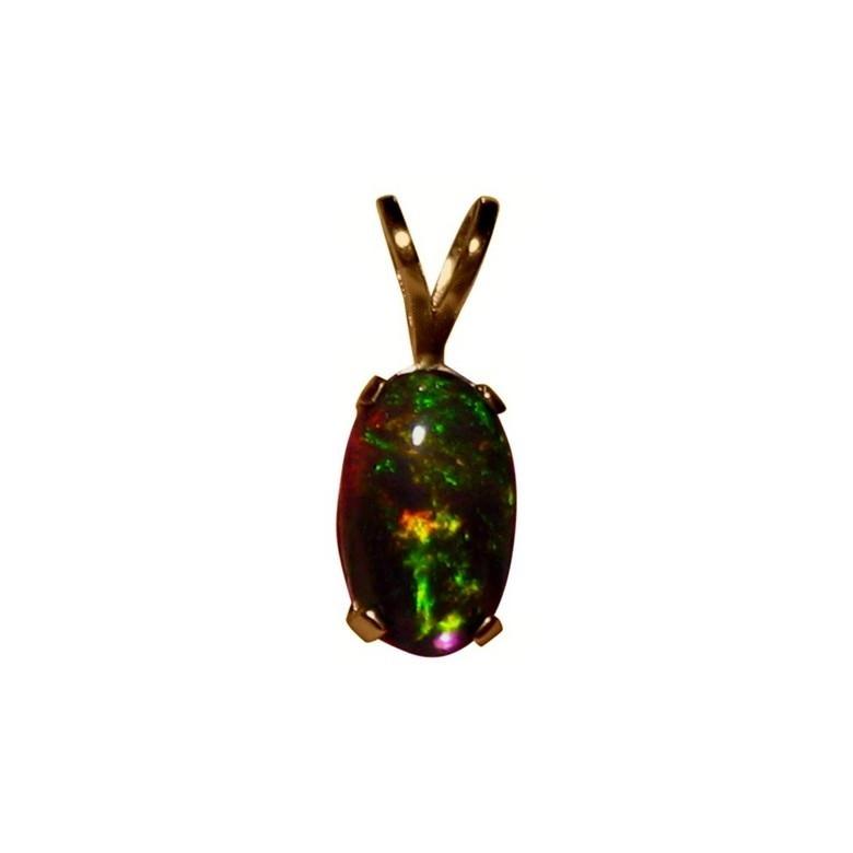 Ethiopian black crystal opal pendant 14k yellow gold flashopal ethiopian opal pendant 14k gold black crystal opal mozeypictures Choice Image