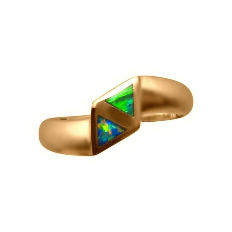 Inlay Opal Ring 14k Yellow Gold Two Triangles FlashOpal