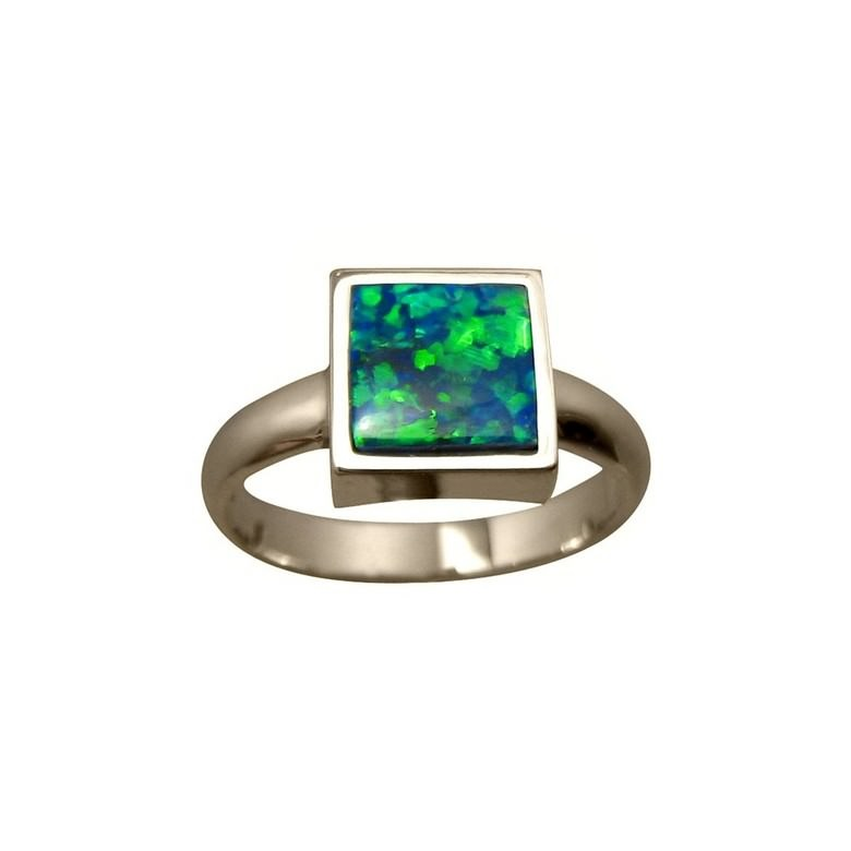 Green Blue Opal Ring 14k Gold Square Stone FlashOpal