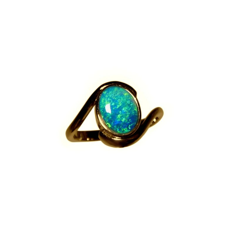 Opal Ring 14k Gold Oval Aqua Blue Green Opal Rings FlashOpal