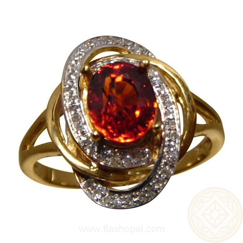 Orange Spessartite Diamond Ring Spessartite Rings