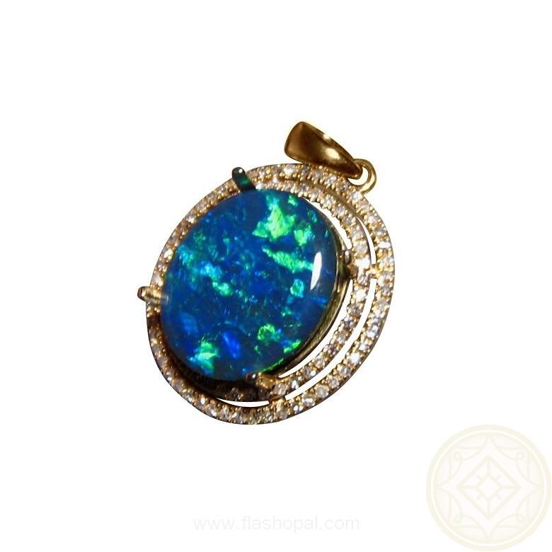 Big Black Opal Halo Diamond Pendant Black Opal Pendant