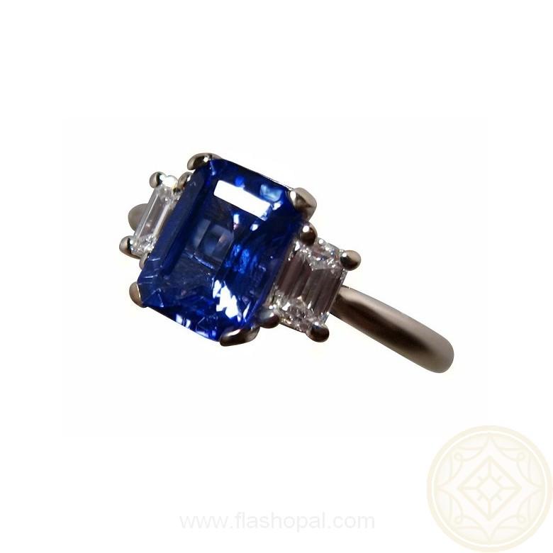 tanzanite ring emerald cut flashopal