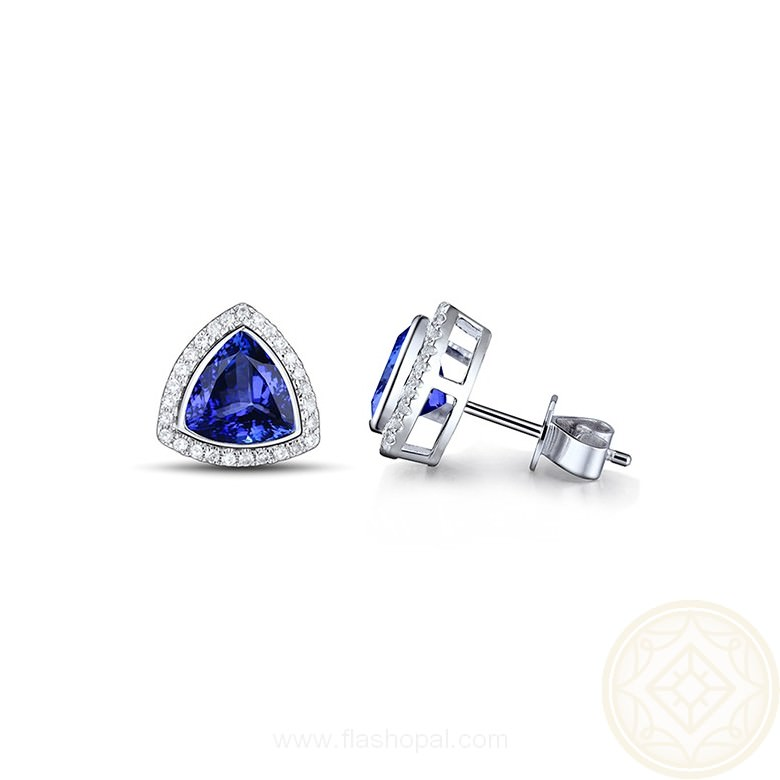 Quality Tanzanite Stud Earrings For December Birthday Gift