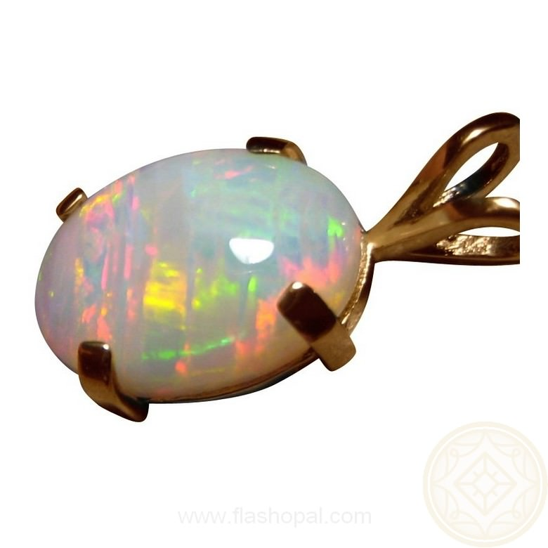 Oval light opal pendant 14k yellow gold flashopal oval white opal 14k yellow gold pendant aloadofball Images