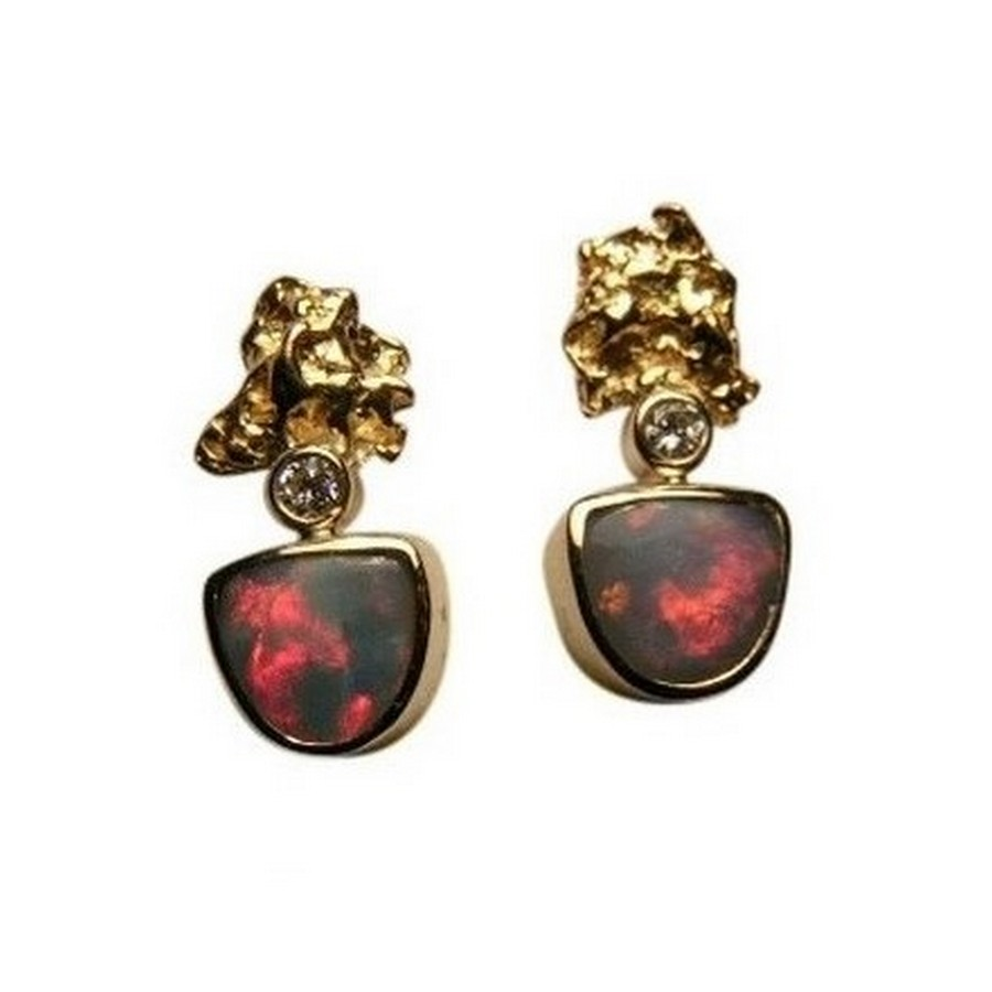 Red Diamond Earrings For Men