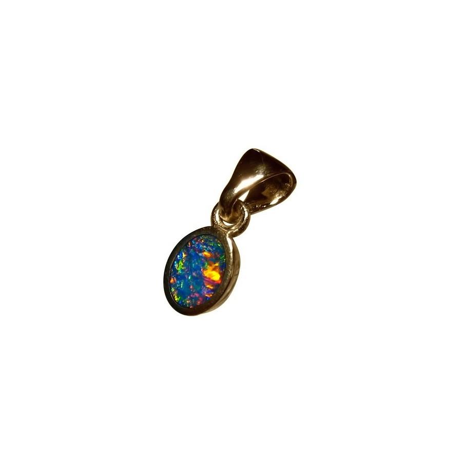 Petite opal pendant 14k gold australian opal pendants flashopal opal pendant 14k yellow gold oval red blue aloadofball Gallery