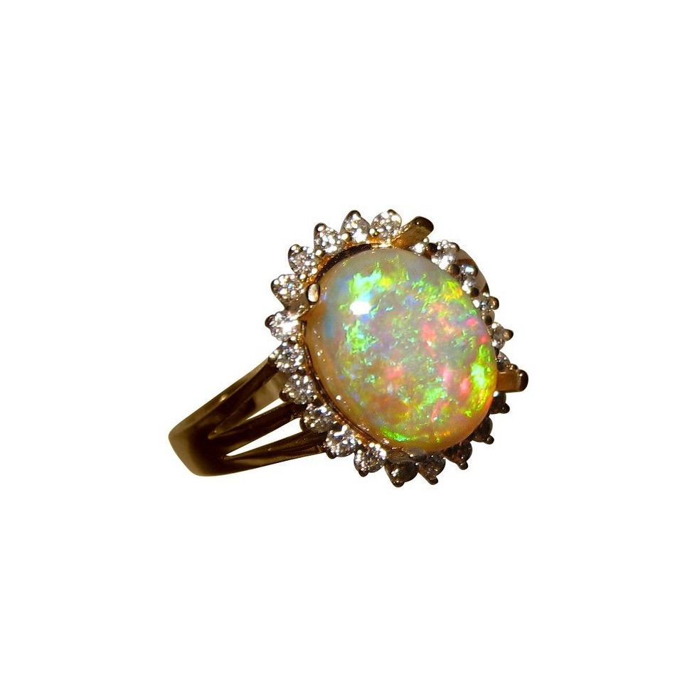 Colorful Crystal Opal and Diamond Halo Ring FlashOpal