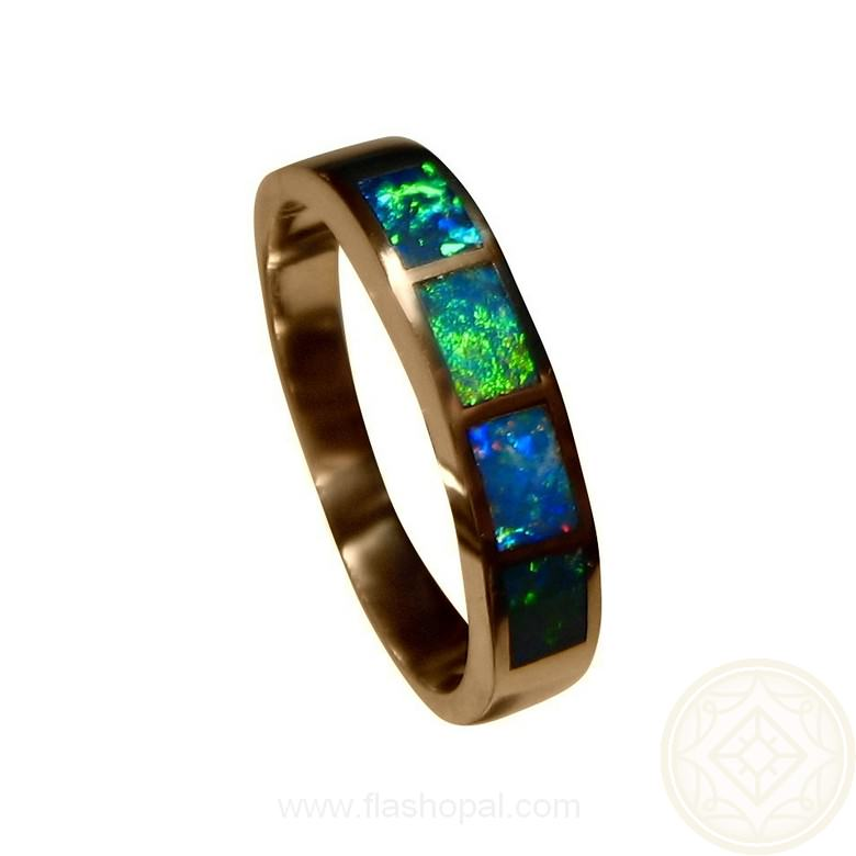 Opal Gold Ring Four Brilliant Stones
