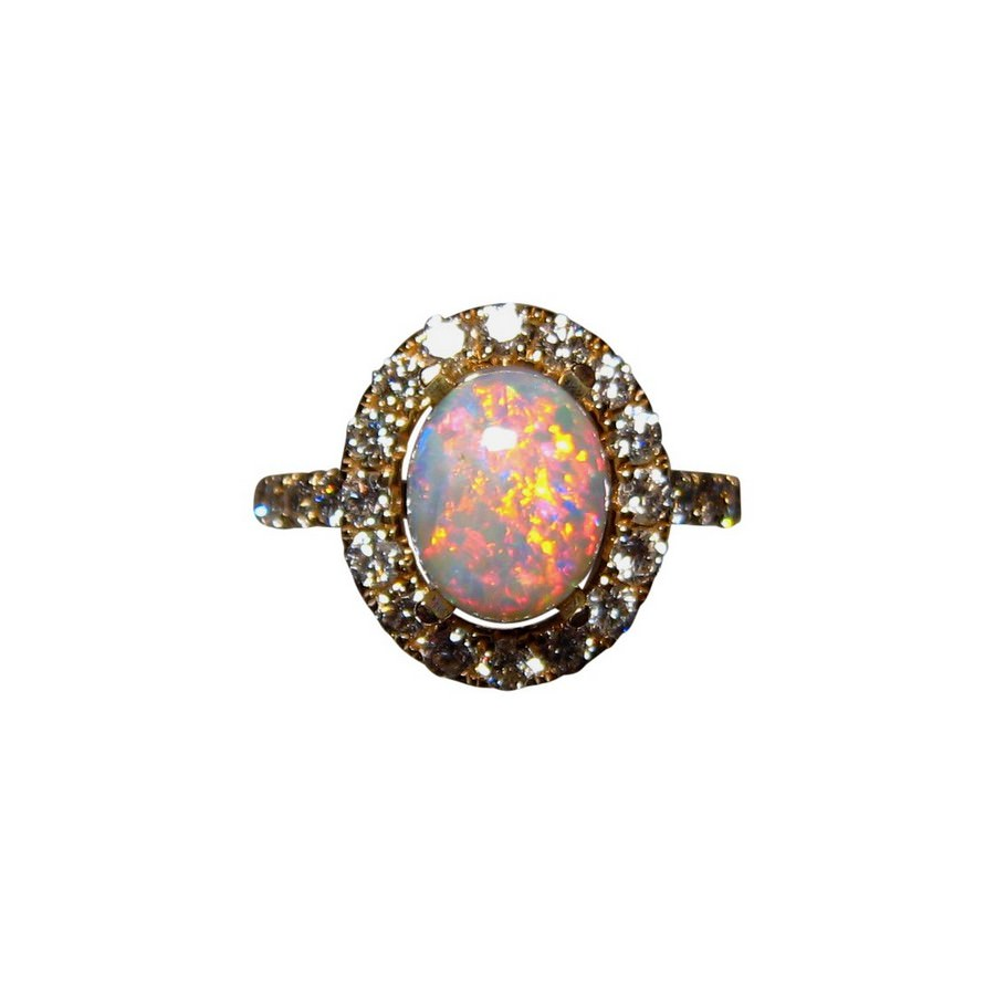 oval opal 14k gold ring with diamonds flashopal