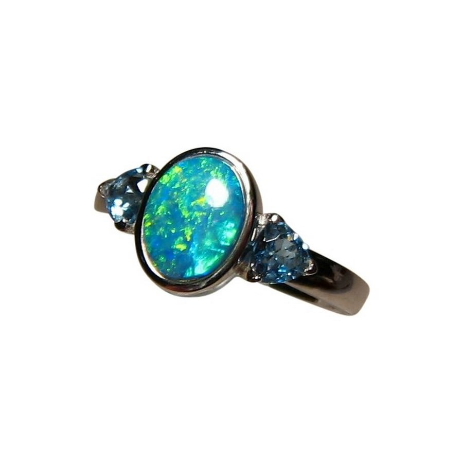Blue Opal and Topaz Ring 14k Gold FlashOpal