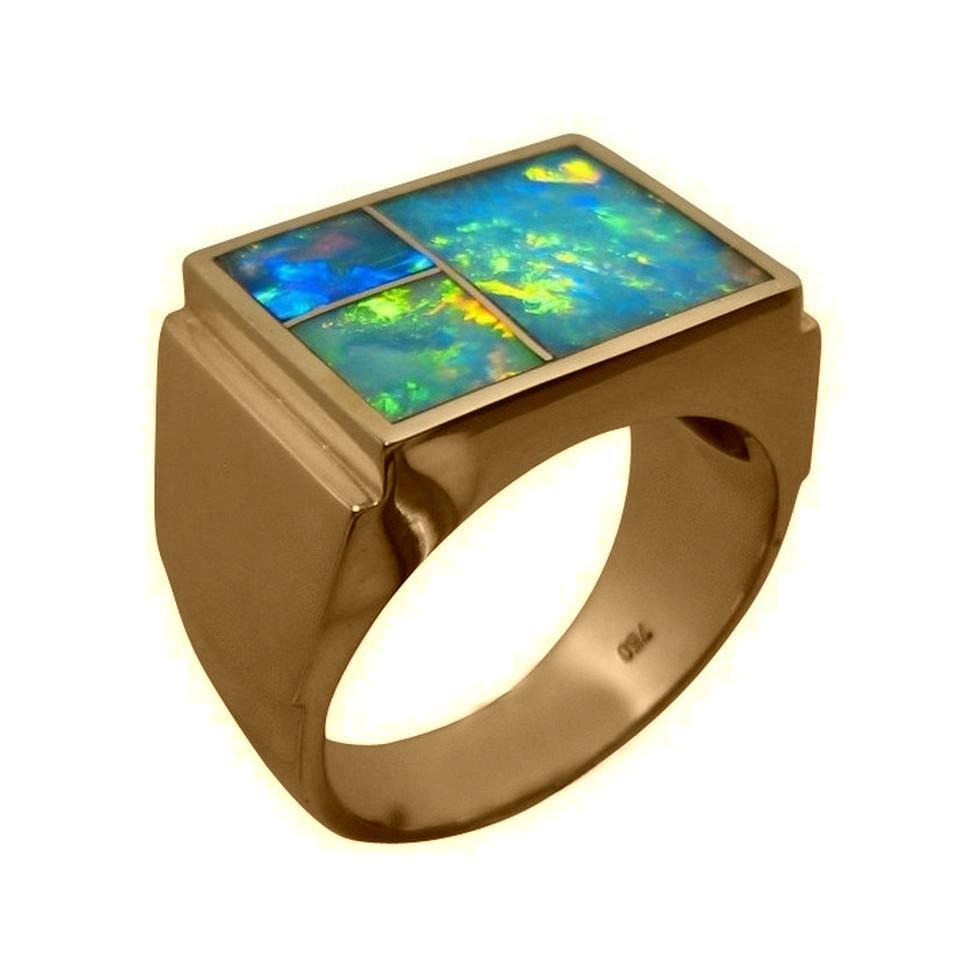 Men\'s Bold Inlay Opal Ring 18k Gold | FlashOpal