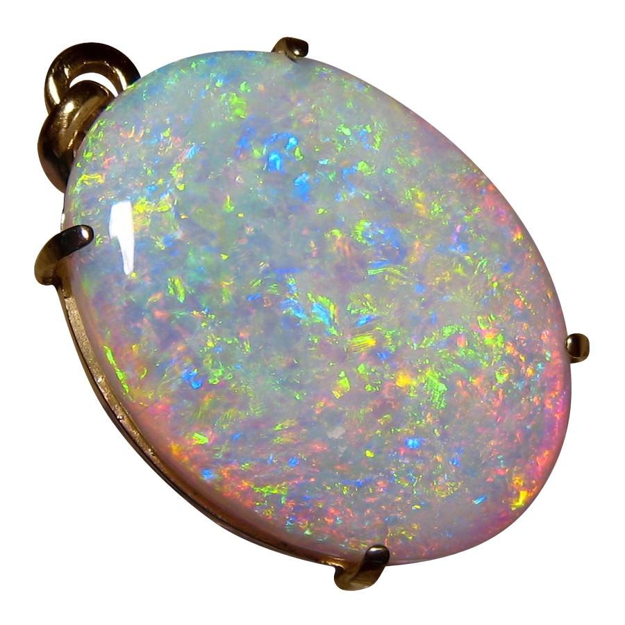 Large Oval Opal Pendant 14k Yellow Gold Big Opal Jewelry