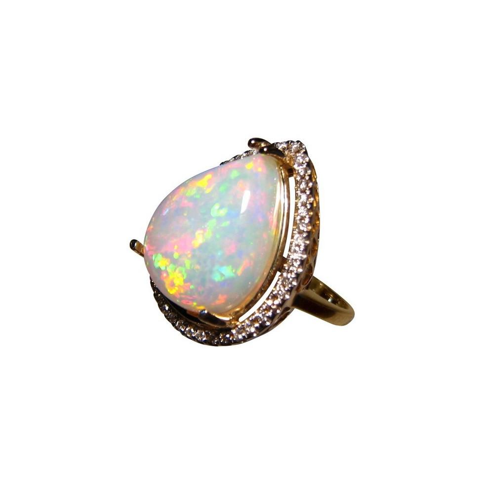 Big Welo Opal Diamond Gold Ring Ethiopian Opal Rings