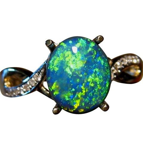 black opal ring with diamonds 14k gold brilliant green gem - Black Opal Wedding Rings