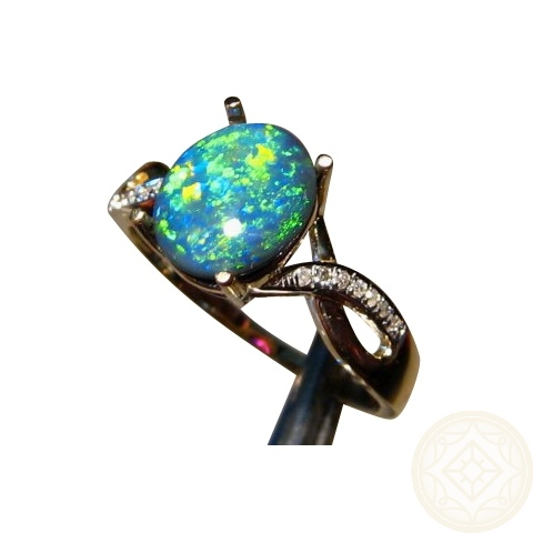 black opal engagement ring with diamonds - Black Opal Wedding Rings