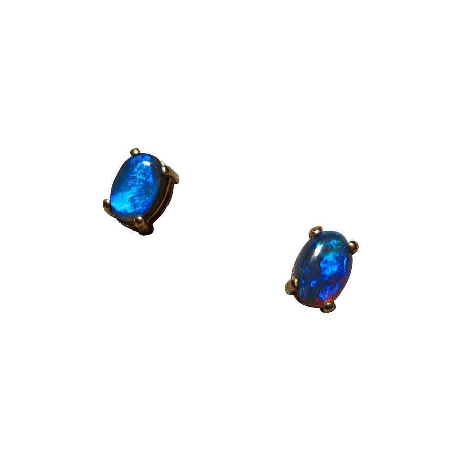 Black Opal Earrings 14k Yellow Gold Studs 5611