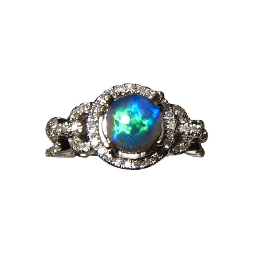 Round Semi Black Opal Diamond Ring 14k Gold Flashopal