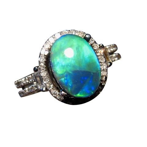 black opal diamond ring 14k gold bright blue aqua gem - Black Opal Wedding Rings