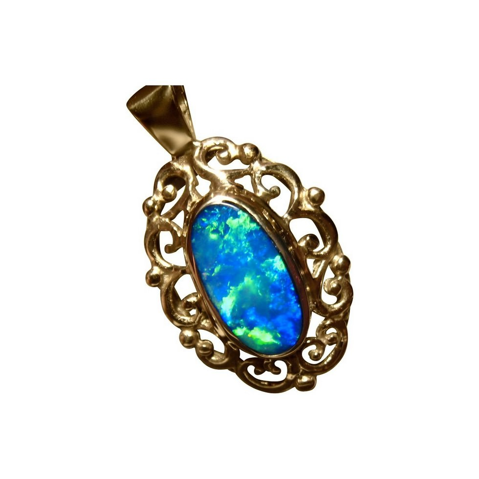 Blue opal pendants light collections light ideas big opal pendant 14k gold fancy scroll flashopal opal pendant with very bright blue and green mozeypictures Gallery