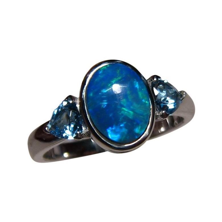 Blue Opal Blue Topaz Ring 14k Gold Natural Opal Rings