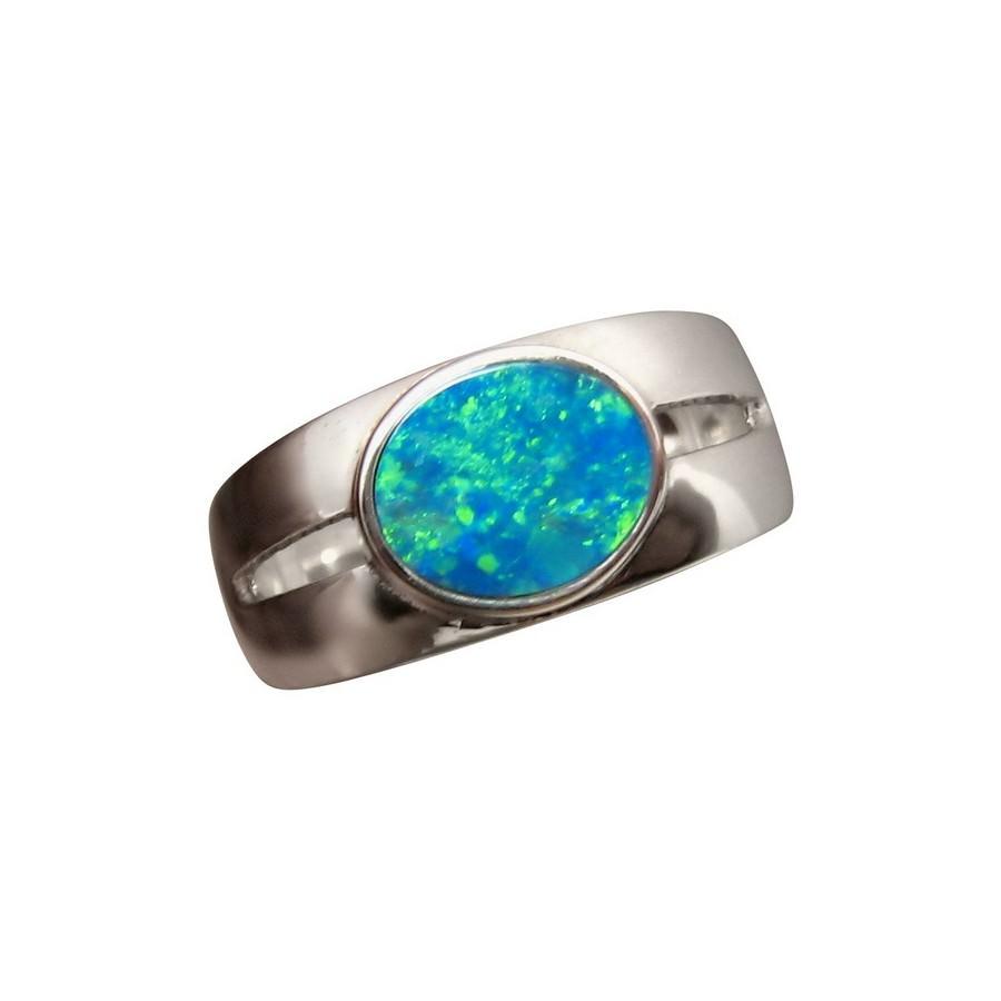 opal silver ring blue green oval gem flashopal