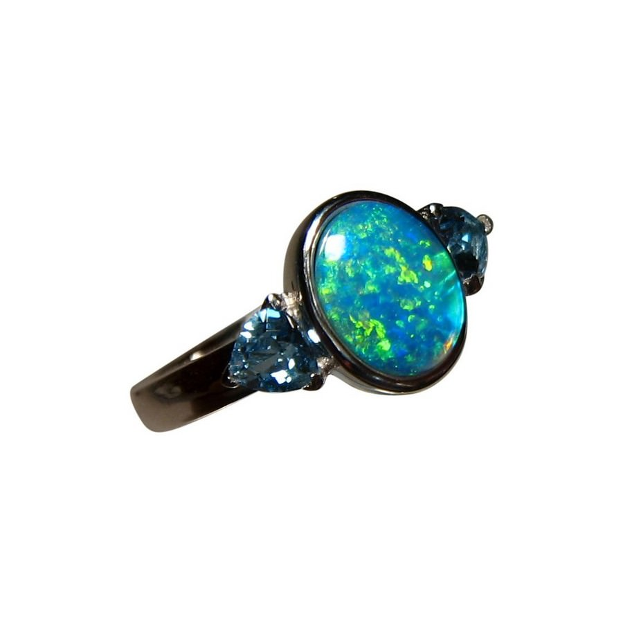 opal rings gold gemstone topaz trillion natural flashopal and genuine ring with blue australian