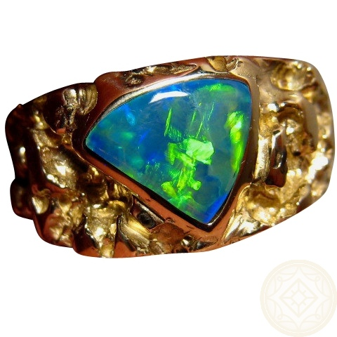 Heavy Mens Opal Gold Ring Textured Design