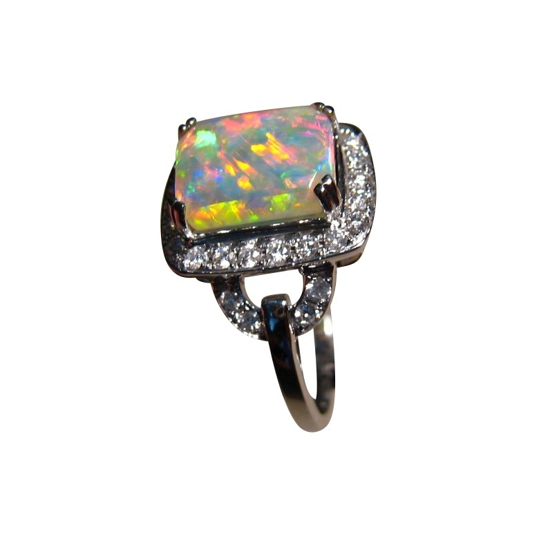 Opal and Diamond Engagement Ring Rectangle