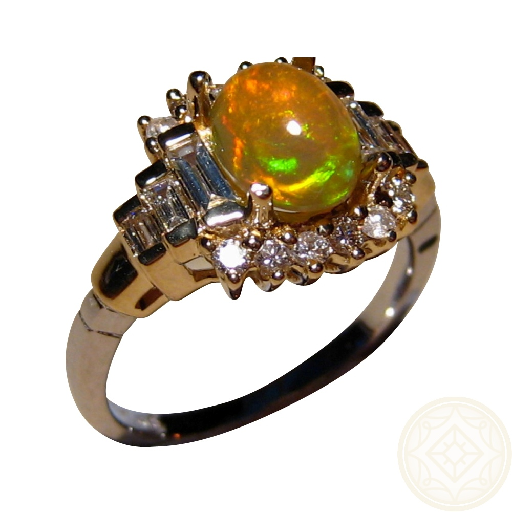 Ethiopian Opal Ring With Diamonds 14k Gold Flashopal
