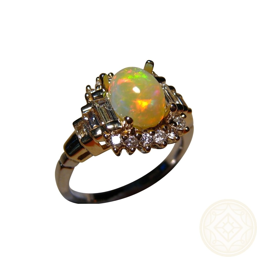 Red Yellow Opal Ring With Diamonds Two Tone Gold