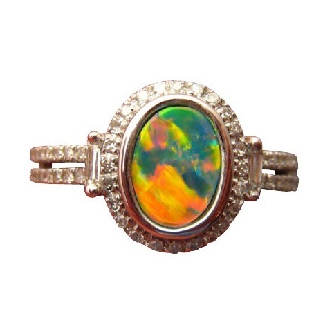 Opal Ring with Diamonds Red Blue Oval Gem FlashOpal