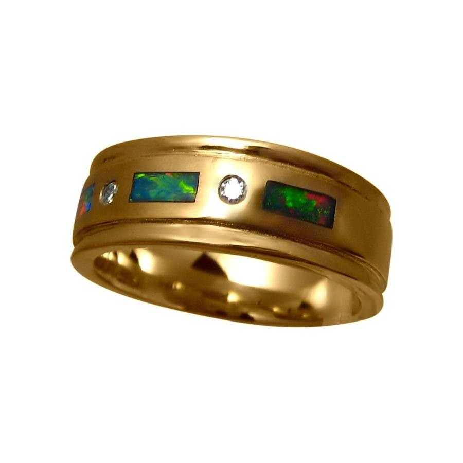 Mens Inlay Opal And Diamond Band Mens Opal Bands Flashopal