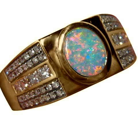 mens opal ring with diamonds 14k gold opal rings men