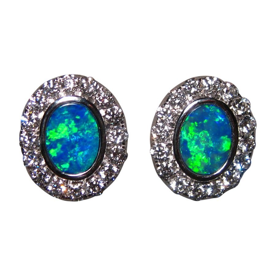 flashopal for oval stud earrings gems real colorful bright opal jewellery studs gold sale