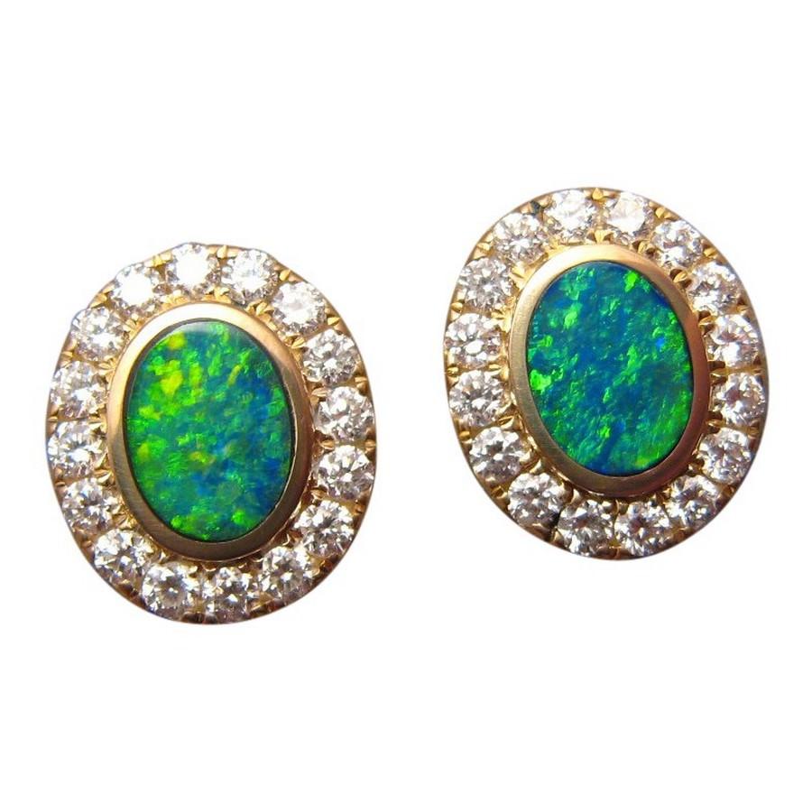 Ideal Green Opal Diamond Stud Earrings 14k Gold - Opal Studs   FlashOpal TI74