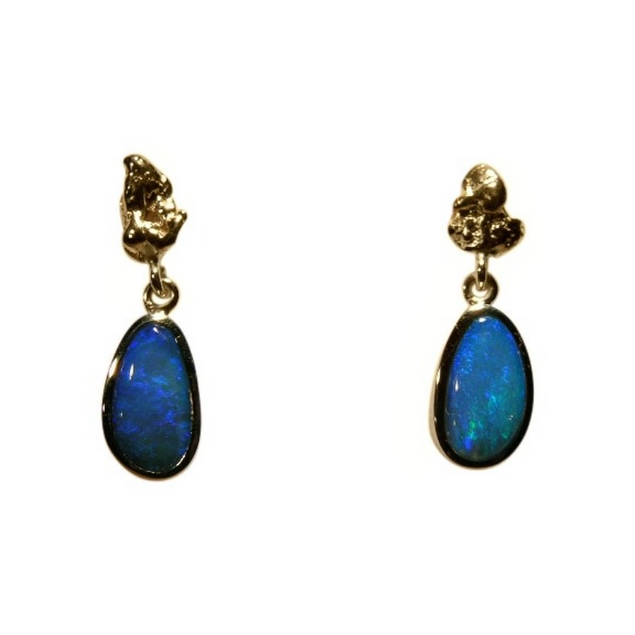 opal real earrings gold stud oval