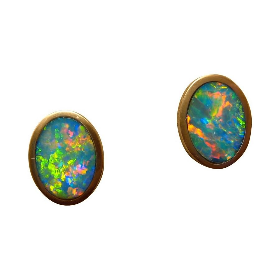 Oval Opal Stud Earrings 14k Yellow Gold