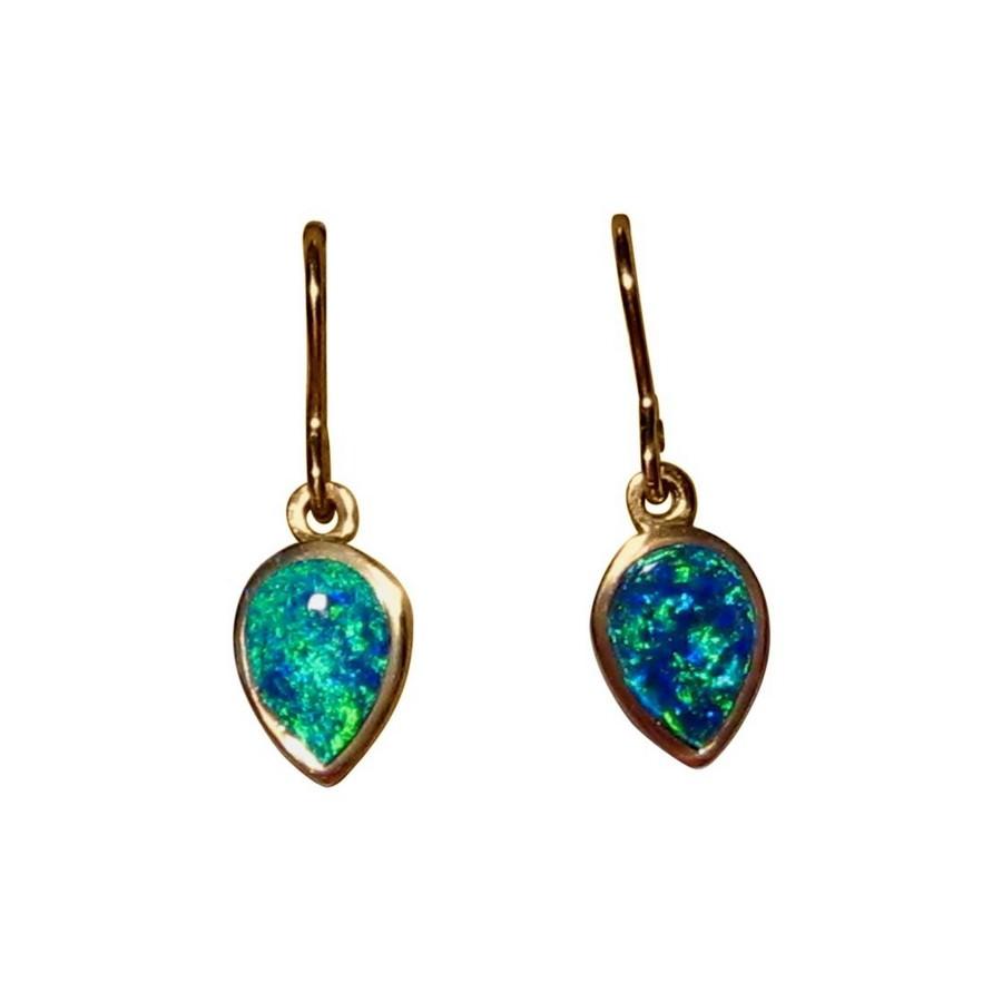 Opal Earrings Pear Danglers 14k Yellow Gold