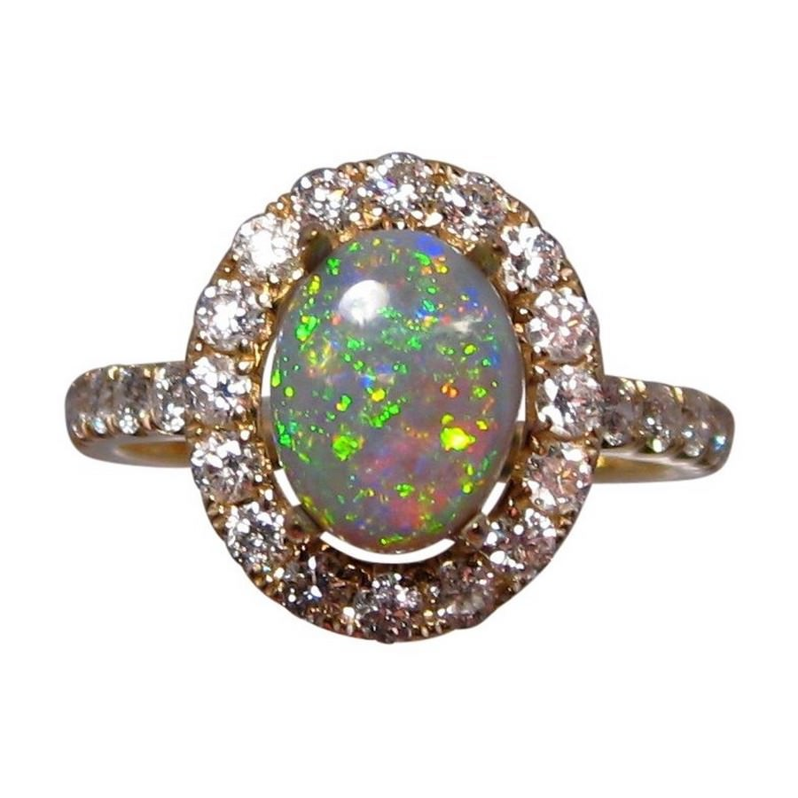 semi black opal and diamond ring for women flashopal. Black Bedroom Furniture Sets. Home Design Ideas