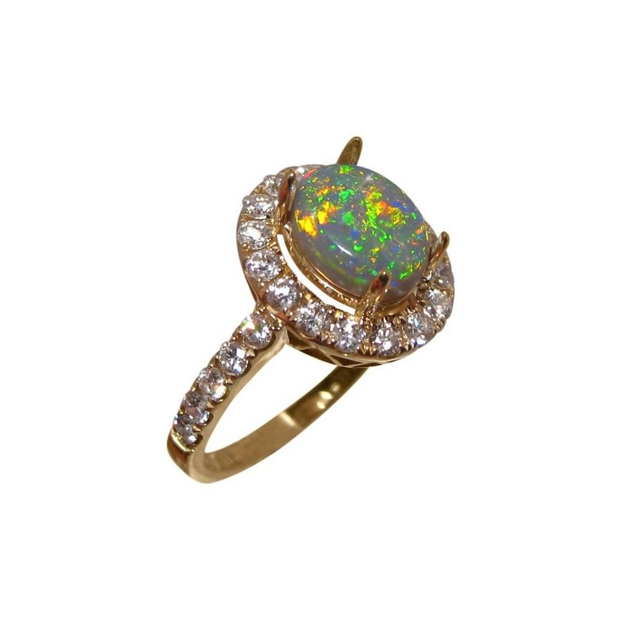 Australian Opal And Diamond Ring For Sale Semi Black Opal Ring With  Diamonds Oval Semi Black Opal With Halo Of Round Diamonds
