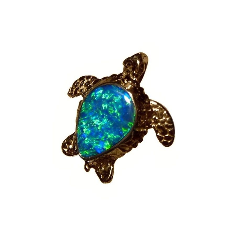 opal pendant 14k yellow gold sea turtle green stone flashopal