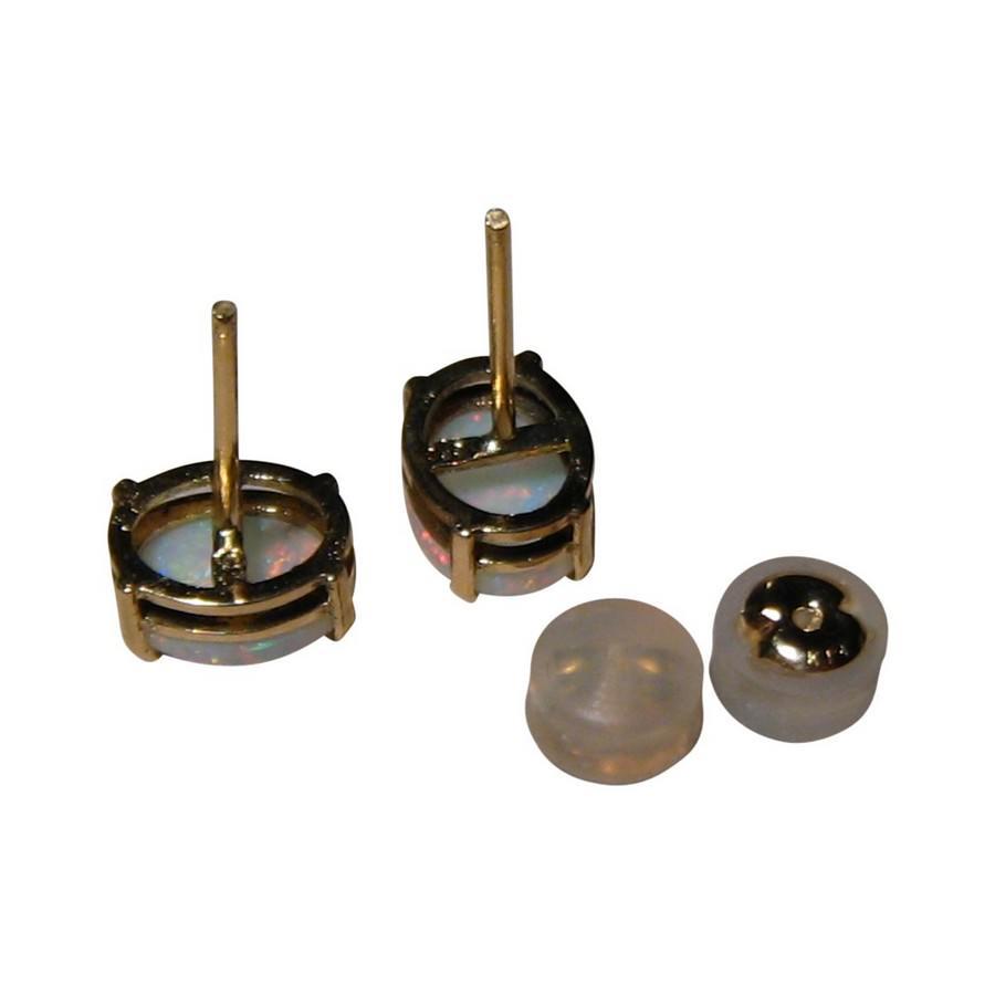 Oval black opal earrings studs comfort fit