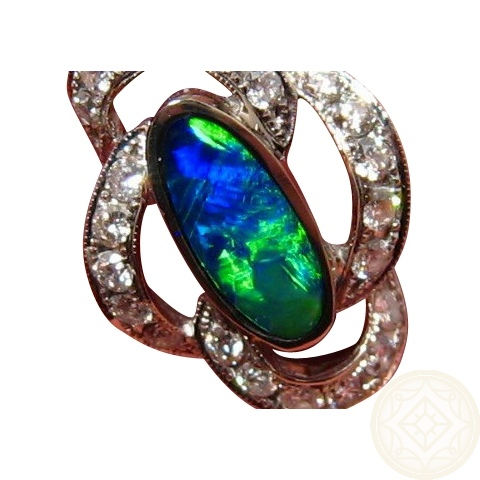 Gem Opal Diamond Pendant Blue Green Opal Pendants