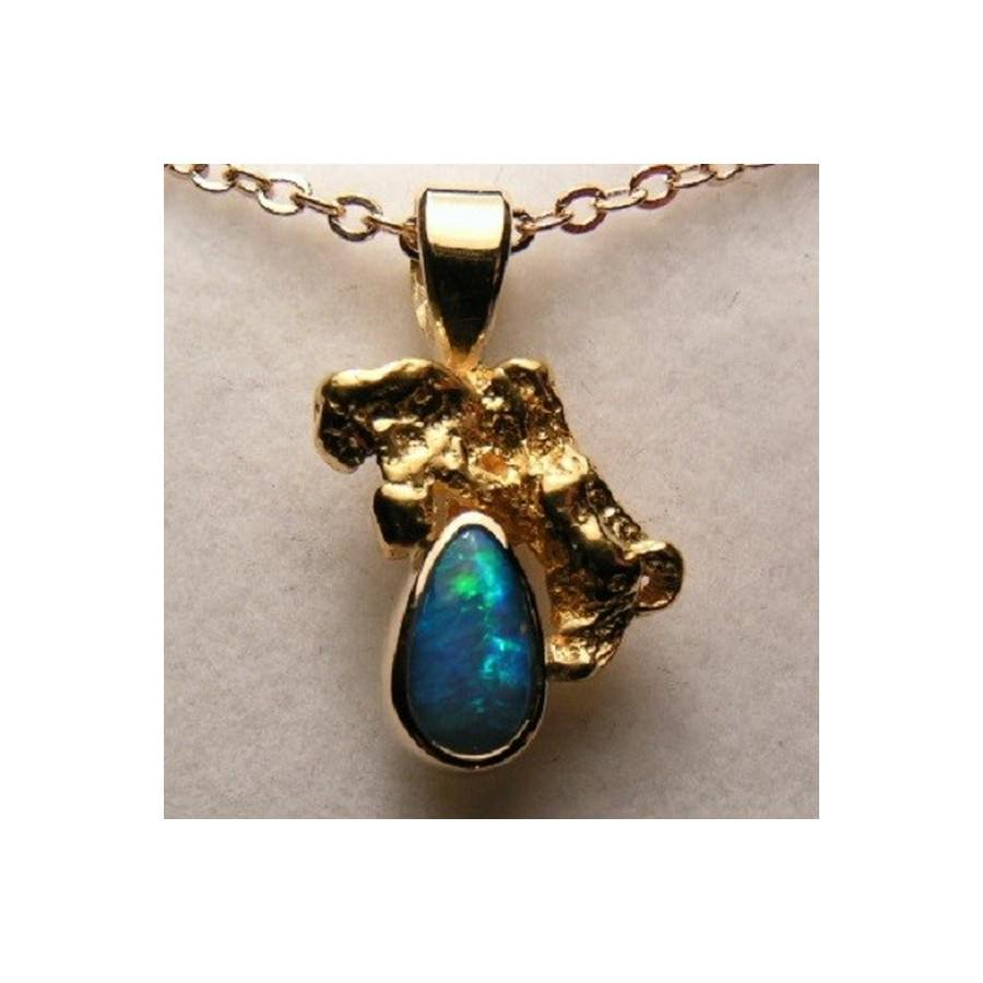 Opal gold nugget pendant 18k gold handmade opal pendant flashopal genuine australian opal pendant for sale natural opal with solid gold nugget pendant aloadofball Images