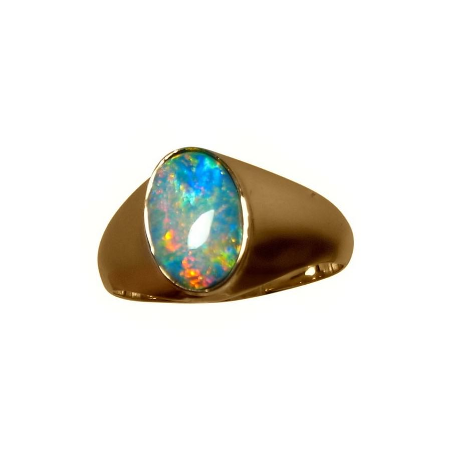 Mens Solitaire Opal Ring Bright Colorful Stone | FlashOpal
