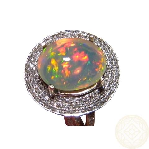 Fiery Welo Opal Ring Diamonds Gold Ethiopian Opal Rings